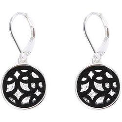 Chaps Black Lace Cutout Disc Drop Earrings