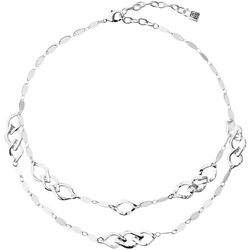 Chaps Silver Tone Chain Link Double Row Collar Necklace