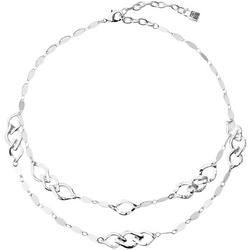 Silver Tone Chain Link Double Row Collar Necklace