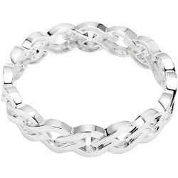 Chaps Open Link Silver Tone Stretch Bracelet