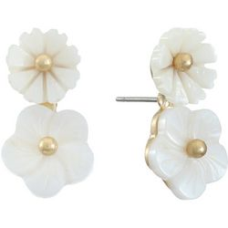 Chaps Shell Double Flower Drop Earrings