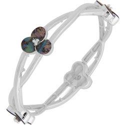 Chaps Floral Twist Silver Tone Shell Stretch Bracelet