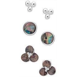 Chaps 3-Pc Silver Tone Shell  Earrings