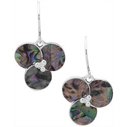 Chaps Abalone Shell Flower Drop Earrings