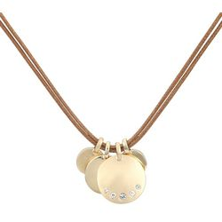 Chaps Disc Charms Double Cord Necklace