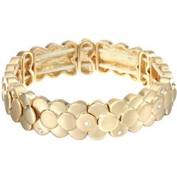 Chaps Goldtone 3-Row Disc Stretch Bracelet