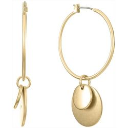 Chaps Gold Tone Hoop Drop Earrings