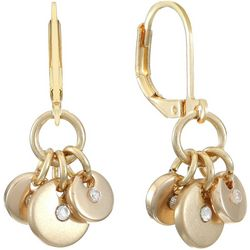 Chaps Gold Tone Triple Shakey Disc Leverback Earrings