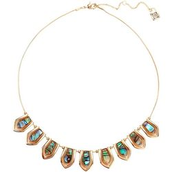 Chaps Abalone Shell Gold Tone Collar Necklace