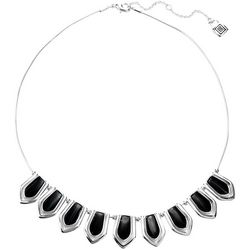 Chaps Faux Onyx Silver Tone Collar Necklace