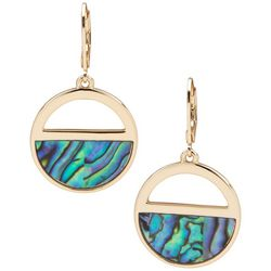 Chaps Gold Tone & Abalone Half Circle Earrings