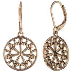 Chaps Gold Tone Mandala Coin Drop Earrings