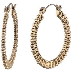 Chaps 30mm Gold Tone Textured Hoop Earrings