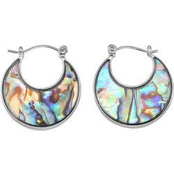 Silver Tone & Abalone Shell Wide Hoop Earrings