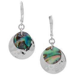 Chaps Silver Tone & Abalone Shell Disc Drop Earrings