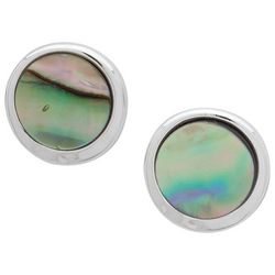 Chaps Abalone Shell Button Stud Earrings