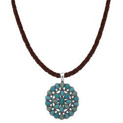 Turquoise Blue Round Pendant Necklace