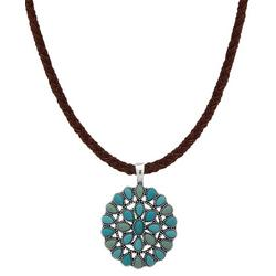 Turquoise Blue Round Pendant Necklace