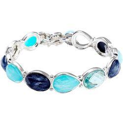 Chaps Blue Multi Cabochon Link Stretch Bracelet