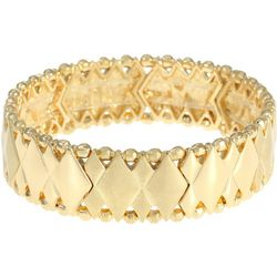 Chaps Gold Tone Diamond Link Stretch Bracelet
