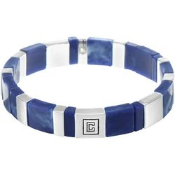 Chaps Blue & Silver Tone Chicklet Stretch Bracelet