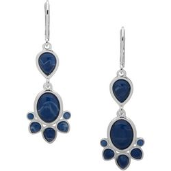 Chaps Blue Cabochon Double Drop Earrings