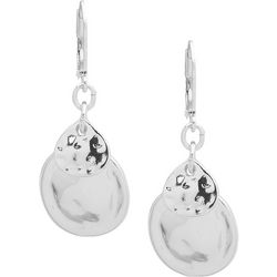 Chaps Double Disc Hammered Leverback Earrings