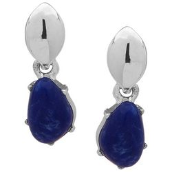 Chaps Polished Silver Tone Sodalite Blue Post Earrings