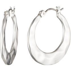 Chaps 25MM Silver Tone Flat Click It Hoop Earrings