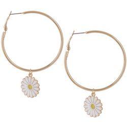 Bay Studio Gold Tone Daisy Charm Hoop Earrings