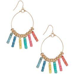 Bay Studio Rainbow Beaded Hoop Dangle Earrings