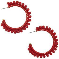 Bright Colored Beaded C-Hoop Earrings