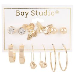 Bay Studio 6-pc Butterfly Studs and Hoops Earring Set