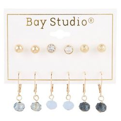 Bay Studio 6-pc Studs and Blue Dropped Bead Earring Set