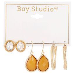 Bay Studio 3-pc Stud Mustard Teardrop & Hoop Earring Set