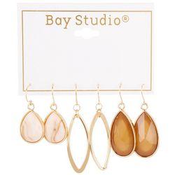 Bay Studio 3-pc Neutral Faceted Teardrop Earring Set