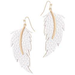 Bay Studio Silver Faux Laether Feather Drop Earrings