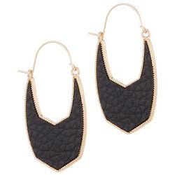 Bay Studio Black Faux Leather Wire Drop Earrings