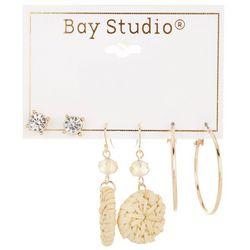Bay Studio 3-pc Goldtone Stud Raffia Drop & Hoop Earring Set
