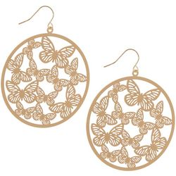 Bay Studio Goldtone Butterfly Disc Drop Earrings