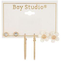 Bay Studio 3-pc. Gold Tone Flower Stud & Hoop Earring Set