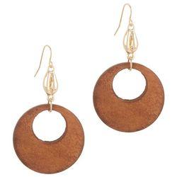 Bay Studio Dropped Wooden Disc Earrings