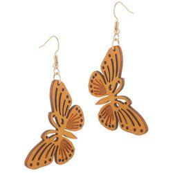 Bay Studio Lasercut Wood Butterfly Drop Earrings