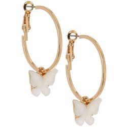 Bay Studio Mother Of Pearl Butterfly Charm Hoop Earrings