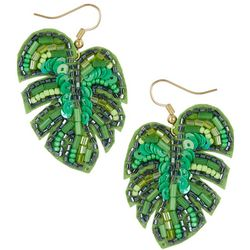 Bay Studio Sequin & Bead Leaf Drop Earrings