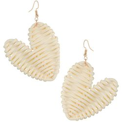 Bay Studio Basketweave Woven Heart Drop Earrings