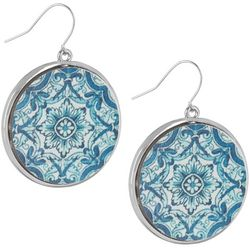 Bay Studio Blue Wood Geo Disc Drop Earrings