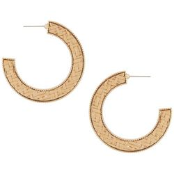 Bay Studio Inlaid Woven Rattan C Hoop Earrings