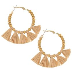 Bay Studio Wood Bead Hoop & Raffia Tassel Earrings