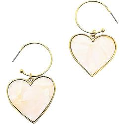 Bay Studio MOP Inlaid Heart Drop Hoop Earring